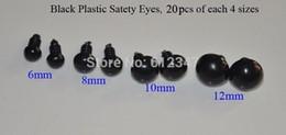 Wholesale Plastic Safety Eyes 12mm - Wholesale-80Pcs All Black Plastic Safety Eyes For Teddy Bears Dolls,20pcs*4 size,6 8 10 12mm, Craft