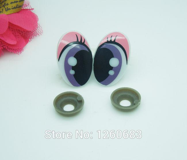 Wholesale-25*16mm Oval Safety Eyes/Multicolor Plastic Doll eyes Handmade Accessories For Bear Doll Animal Puppet Making - 50 pairs/lot