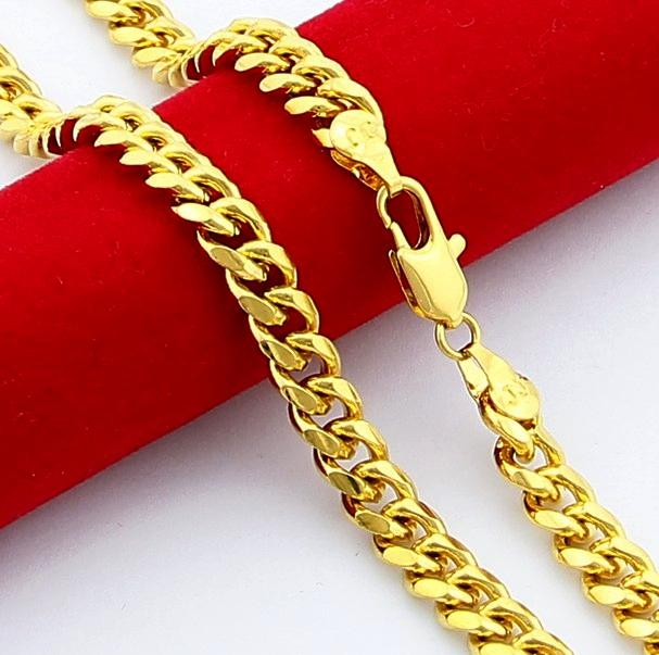man necklaces Jewelry 24K Gold 6.5mm men's 24K gold long chain classic 20-30 inch24KGP figaro chain for MEN Free Shippi