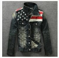 alte motorradjacken großhandel-Wholesale-2015 Männer Denim Jacken Oberbekleidung amerikanische Flagge männlich tun alte blaue Motorrad Jeans Jacke Mantel Mann Mode Slim Jeans Denim