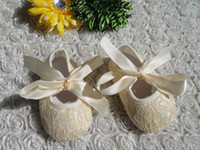 Wholesale Cute Shoe Bow Ribbons - Wholesale-Cute Baby Shoes Solid Color Silk Shoes Infant Lace First Walkers with Ribbon Bow Girls Crib Shoes Prewalkers 0M-18M 6Pairs lot