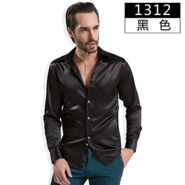 Vêtements En Soie Pour Hommes Pas Cher-Gros-2015 Automne Hiver Hommes soie artificielle Shirts Glossy satin simple boutonnage luxe Tuxedo Vêtements Vintage Classique Chemises