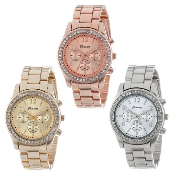 Trustworthy 3Colors Quartz Watch Hombres Mujeres Faux Chronograph CRT plateado Geneva Ladies Clock Relogio Metal Relojes para hombres SV78