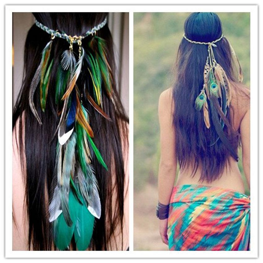 2018 Chic Women Boho Bohemian Feather Extension Handmade Hair Head
