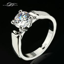 Wholesale Zirconia Solitaire Rings - Simple CZ Diamond Engagement Rings Wholesale Silver Color Platinum Plated Fashion Brand Cubic Zirconia Wedding Jewelry For Women DFR053