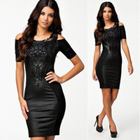 Wholesale Sexy Dress Fight - Wholesale-2015 new woman fashion sexy lace embroidered fight skin tight dresses Boat Neck Short Sleeve Slim Dress
