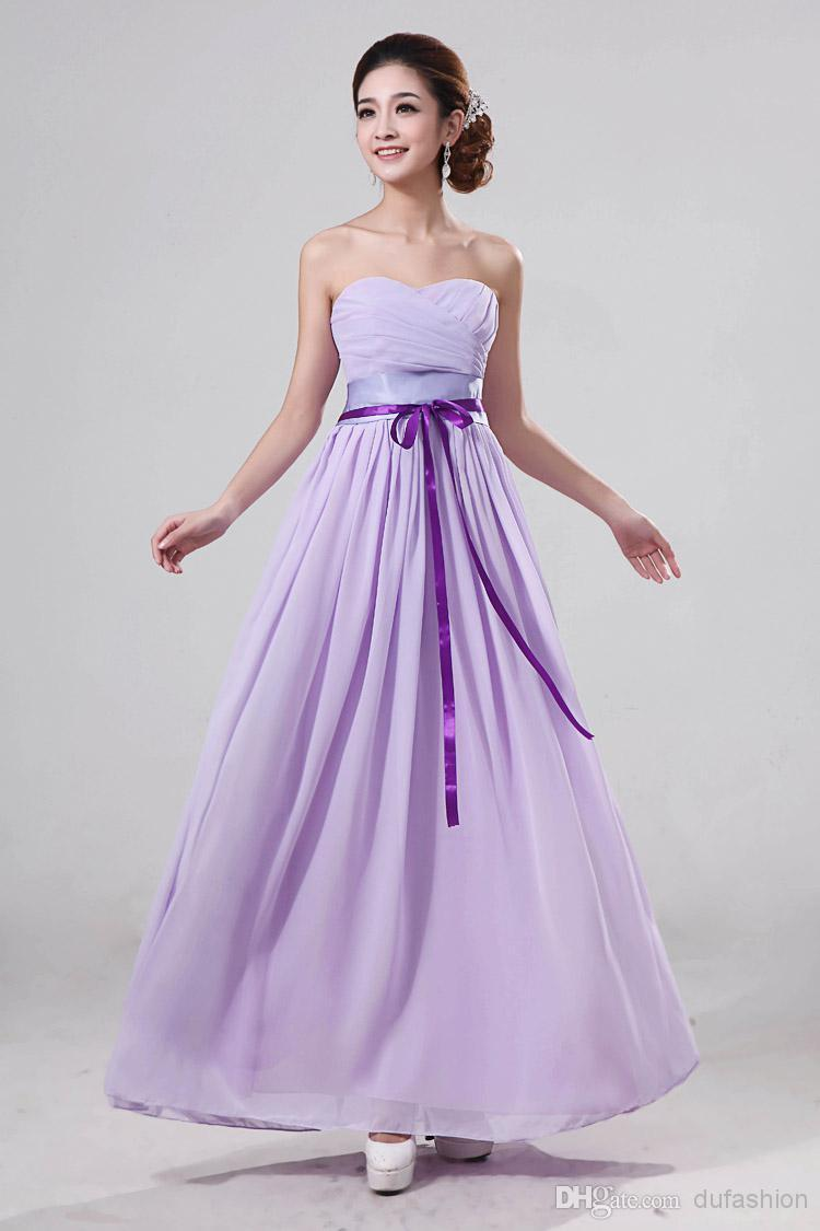 2016 New Cheap Women Long Prom Dresses A Line Chiffon Strapless ...