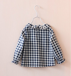 Les Filles De Corée Pleines Pas Cher-Gros-Y10538-28 New 2015 Spring Corée Fille Blouse Plaid Volants O-Neck Fille manches pleine Top Pater Pan Collar Vêtements Lolita Enfants