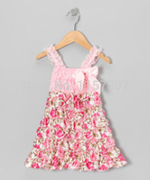 Wholesale Satin Petti Dresses - Wholesale-Original Price on 28th,Feb, Pink Lace & Satin Floral Ruffle Petti Dress for Toddler Girls size 1-3 T ( 5 pieces   lot )