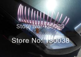 Wholesale 3d Carbon Fiber Parts - 2pcs(=1pair) Pink 3D Automotive Eyelash Auto Part Stickers,Car Eyelash Lights Decal