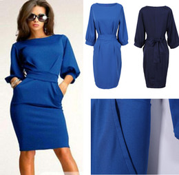 Wholesale-Free Shipping high quality women working dresses with half sleeve o-neck sheath knee length office dress casual clothing