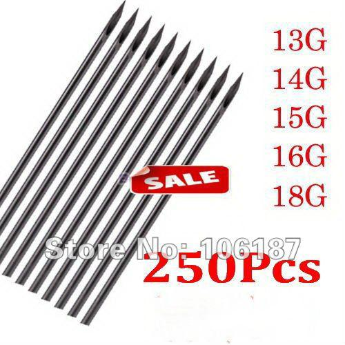 top popular Wholesale-250Pcs 13G 14G 15G 16G 18G Body Piercing Sterilized Needles of Different Sizes Tatoo Tools Mixed Sizes 2020