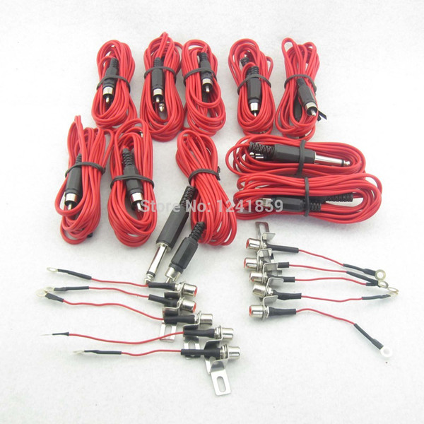 Wholesale-5 Sets Red RCA Jack Conversion Tattoo Power Clip Cord For Tattoo Power Kit Set Supply TCC05#