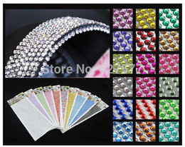Wholesale Self Adhesive Carbon Fiber Film - 1000pcs 4mm Rhinestone Self Adhesive Car Stickers Diamantes Stick On Crystals Beads Nail Art More Color Choice