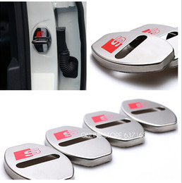 Wholesale Audi Q7 Doors - Wholesale-For AUDI A1 A3 A4 A5 A7 A8 Q3 Q5 Q7 Car Styling Stainless Steel Door Lock Decoration Cover Door Lock Cover Sticker