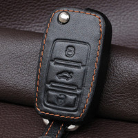 Wholesale Vw Polo Keychain - Wholesale-HQ genuine leather car key cover case set for VW polo golf 4 5 6 mk6 passat b5 b6 jetta tiguan bora fob flip remote keychain
