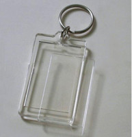"Wholesale Photo Inserts - Wholesale-100pcs Blank Acrylic Rectangle Keychains Insert Photo Keyrings (Key ring chain)2""x 1.25"""
