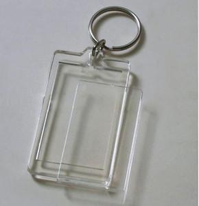 "Wholesale-100pcs Blank Acrylic Rectangle Keychains Insert Photo Keyrings (Key ring chain)2""x 1.25"""