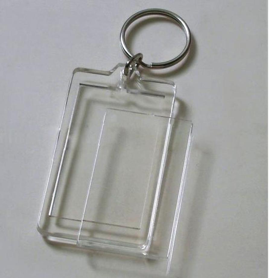 """Wholesale-100pcs Blank portachiavi in acrilico rettangolo Inserisci foto portachiavi (portachiavi a catena) 2 """"x 1,25"""""""