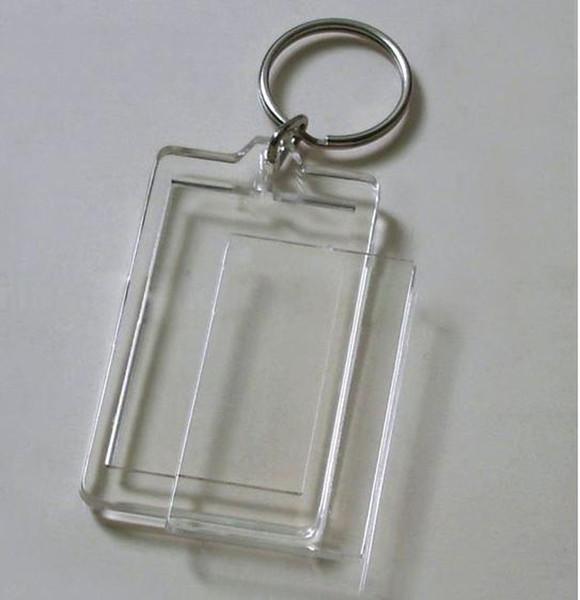 Atacado-100pcs em branco acrílico retângulo chaveiros Inserir foto chaveiros (chaveiro) 2