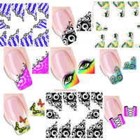 Wholesale Watermark Nails - Wholesale-50pcs New French Manicure Tips Mixed 33 Design Water Transfer Nail Art Sticker Decal Manicure Watermark Wraps DIY #XF1299-1331