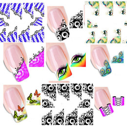 Wholesale Wholesale French Nails - Wholesale-50pcs New French Manicure Tips Mixed 33 Design Water Transfer Nail Art Sticker Decal Manicure Watermark Wraps DIY #XF1299-1331