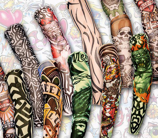 Venta al por mayor-12pcs mezcla envío gratis elástico falso tatuaje temporal manga arte 3D diseños cuerpo brazo pierna medias tatoo fresco hombre-mujer 2015 nuevo