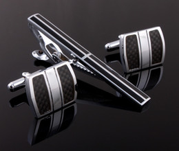 Wholesale Men Wedding Dress Shirts - Wholesale-High quality carbon fiber man Cufflinks Cuff Links men Dress Wedding cufflinks-Free shipping Business Shirt Cufflink&Tie pin