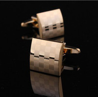 Wholesale Gold Plated Tie Clips - Wholesale-Square Louis Gold plated platinum plating silver cufflinks high quality luxury cufflinks Laser plating cuffl inks