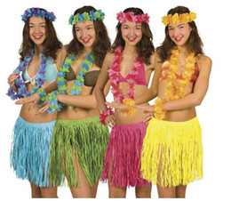 Wholesale Kinder Dresses - Wholesale-2015 New Hot 5 Set lot Kinds Hawaiian Hula Grass Skirt Flower Party Dress Beach Dance Costume Free Shipping