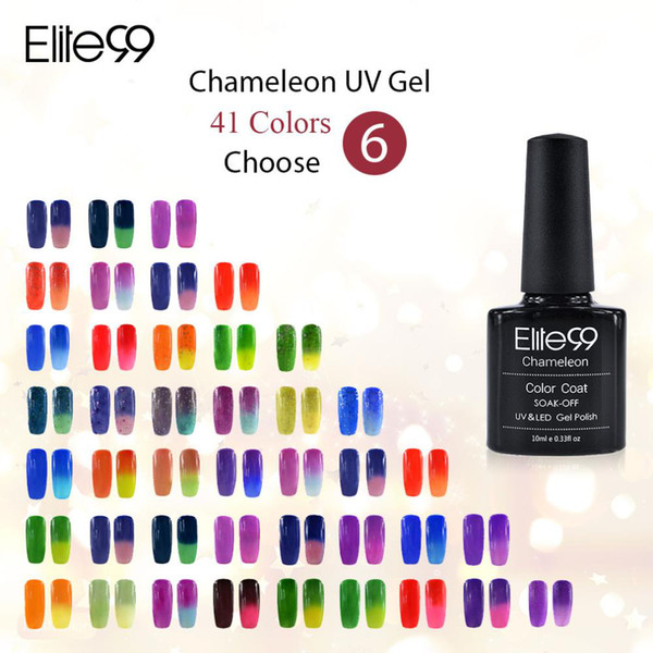 Wholesale-Elite99 10ML Temperature Change Color Manicure UV Gel Nail Nice Soak Off Gel Polish Any 6 Colors Free 10 Pcs Remover Wraps