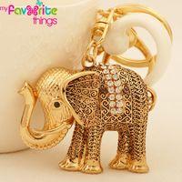 Wholesale Small Purses Keychain - Wholesale-Small Ethnic Gold Plated Elephant Key Chain Ring Fashion Rhinestone Alloy Animal Keychain for Women Gift Bag purse Charm Pendant