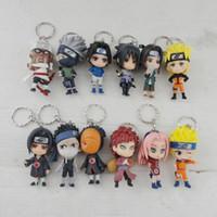 Wholesale Key Chain Naruto - Wholesale-Promotional New Design Exquisite Craft PVC Anime Naruto Action Figure Key Chain 12pcs Full Set Boys Girls Gift