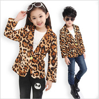 Wholesale Girls Blazer Leopard - Wholesale-new 2015 Girls and Boys leopard pocket suits,kids jackets long-sleeve baby clothing coats children outerwear ,boys blazer