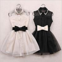 neue kleider mädchen revers großhandel-Großhandels-Mit Gurt 2015 neuer Ankunfts-Art- und Weiseperlen-Diamant-beiläufiges Kleid-kleine Revers-Gaze-Taille Ballettröckchen-Partei-einteiliges Mädchen-nettes Kleid