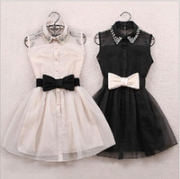 Wholesale new small girls dresses - Wholesale-With belt 2015 New Arrival Fashion Pearl Diamond Casual Dress Small Lapel Gauze Waist Tutu Party One-piece girl cute dress