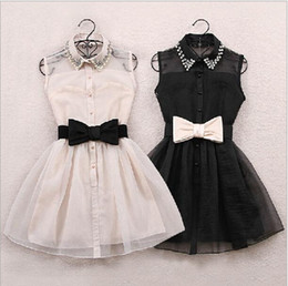girl tutus one piece dress Canada - Wholesale-With belt 2015 New Arrival Fashion Pearl Diamond Casual Dress Small Lapel Gauze Waist Tutu Party One-piece girl cute dress