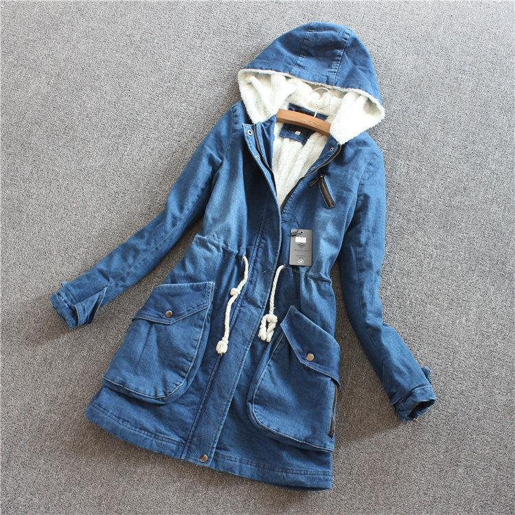 2018 Washed Denim Jacket Autumn Coat New Trendy Jeans Winter Coat 2015 Womens Hooded Long Denim ...