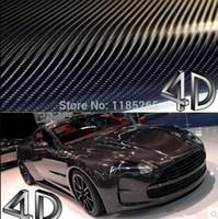 Wholesale Carbon Fibre Wrap Car - Wholesale-1 pc 1.52*0.5M Black 4D carbon fiber vinyl film wrap   4D carbon fibre sticker   4D car sticker with bubble free  FREESHIPPING