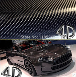 Wholesale Car Wrap Bubble Free Black - Wholesale-1 pc 1.52*0.5M Black 4D carbon fiber vinyl film wrap   4D carbon fibre sticker   4D car sticker with bubble free  FREESHIPPING