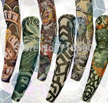 Wholesale-Hot!Tattoo sleeve / outdoor riding sun protection sleeve/ Punk Fake Crown Temporary Tattoos Sleeves Arm Stockings