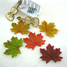 Wholesale Wholesale Silk Maple Leaves - Wholesale-Free Shipping 1000pcs Fall Silk Leaves Wedding Favor Autumn See Maple Leaf Selling wedding decorations hot sale