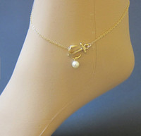 Wholesale Bikini Bag - Wholesale-Sideways Anchor + Pearl Gold Filled Chain Anchors Pendant Charm Bikini Anklets With Gift bags