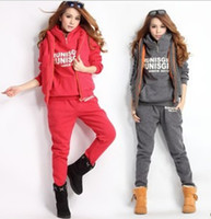 Wholesale Hoodies Sweat Pants - Wholesale-Womens Fashion Trends Elegant Sports Hoodies Coat+Vest+Pants 3pcs Sweat Suit Tracksuit plus size women clothing Free Shipping