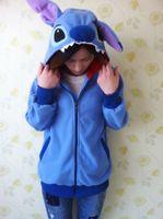 Wholesale Cute Hoodies Animal Ears - Wholesale-Winter Anime Animal Cute Cartoon Women Men's Blue Stitch Hoodie with Ears Hooded Hoody Coat Jacket Warm Polar Fleece Plus Size