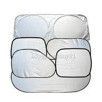 Wholesale Sun Shade Cover Windows - Wholesale-6Pcs Folding Silvering Reflective Car Sun Shade Car Window Sunshade Cover Visor Shield E1IT