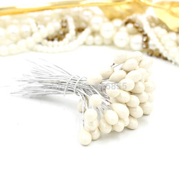 Wholesale Decoration Cake Pearls - Wholesale-New arrivial Free shipping 450pcs Lot Single head white pearl flower stamen iron wire stem pistil cake decoration craft DIY