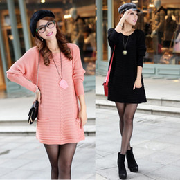 Wholesale Sweaters For Pregnant Women - Wholesale-2015 Autumn and Winter Maternity Clothing Women's Sweater Plus Size Loose Long Sweater Dress Clothes for Pregnant Clothing