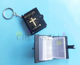 Wholesale Gift Craft Key Rings - Wholesale-12pcs English Christian Gospel Christmas gifts crafts mini bible keychain God day school supplies prizes key ring