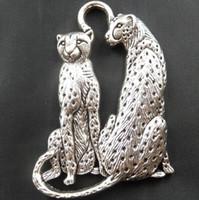 Wholesale Wholesale Cheetah Jewelry - 2015 Sale Real Bone Free Shipping Wholesale Fashion 15 Pcs Tibetan Beautiful Cheetahs Charms Pendants 65x40mm Jewelry Diy X1778